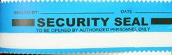 blue security tape seal