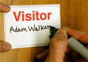 write on visitor badges